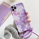 蘋果 iPhone 11 Pro Max XR XS MAX iX i8+ i7+ SE 2020 紫立方掛繩殼 手機殼 全包邊 手帶 保護殼
