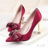 歐美風尖頭性感高跟鞋細跟蝴蝶結女單鞋綢緞顯瘦職業OL女鞋 PA16503『男人範』