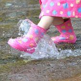 雨鞋 印花兒童雨鞋 加厚防滑鞋底天然環保橡膠無異味 美麗伊芙 野外之家