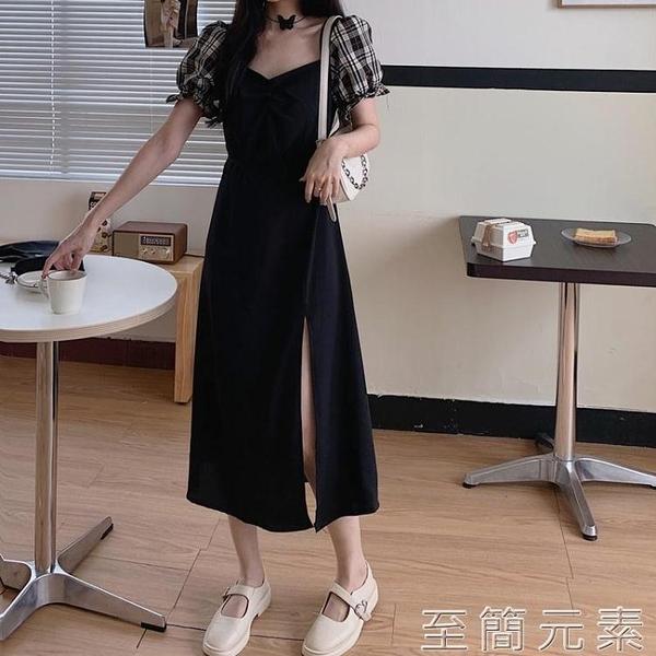 秋裝大碼年赫本法式格子長裙胖MM顯瘦氣質開叉方領洋裝 雙十二全館免運