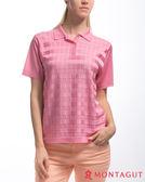 夢特嬌短袖POLO衫 女藝人穿搭款 亮絲系列女款氣質方格紋-粉紅