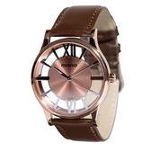 【名人鐘錶】mono CK款中性鏤空咖啡玫瑰金皮革錶x38mm 棕色小羊皮皮革帶×藍寶石水晶鏡面・公司貨