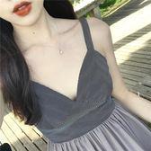 巴厘島沙灘裙復古條紋吊帶連身裙顯瘦海邊度假裙泰國海島性感長裙  良品鋪子
