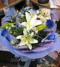 (YO-05)北縣永和花店情意花坊傳情花束花禮~百合藍玫瑰花束+小熊只要899元歡迎提前預定~
