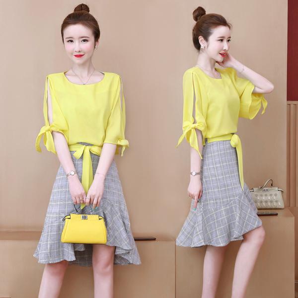 超殺29折 韓國風時尚氣質顯瘦雪紡格紋套裝短袖裙裝