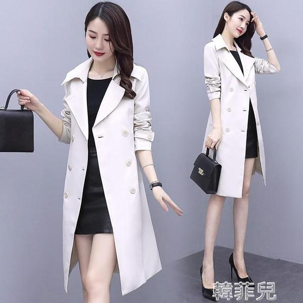 風衣外套 風衣女中長款新款秋季女裝英倫風雙排扣流行外套女韓版寬鬆 韓菲兒