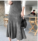 麂皮絨魚尾裙a字長款高腰中長款半身裙長裙女新款包臀裙