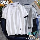 男士短袖t恤夏季港風潮流純棉衣服假兩件情侶寬松半袖打底衫【風之海】