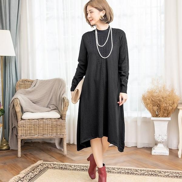 [88381-S]個性舒適不規則下擺one piece 針織連身裙-小三衣藏