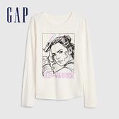 Gap女童棉質舒適印花圓領長袖T恤513843-象牙白