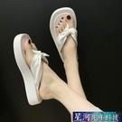 增高拖鞋 人字拖女夏季新款厚底增高外穿海邊沙灘鞋涼鞋風 星河光年