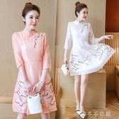春夏季新款中國風七分袖復古領盤扣刺繡旗袍民族風少女洋裝「千千女鞋」