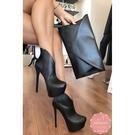 高跟短靴 v型細跟歐美款 騎士靴 中靴 踝靴*KWOOMI-A121