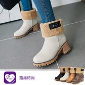 韓系甜美浪漫素面絨毛圓頭方跟中長靴/4色/35-43碼 (RX1328-D5016) iRurus 路絲時尚