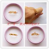 歐幣開口戒指 沙金鏤空心形食指尾戒指環新娘結婚首飾品