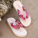 促銷全場九折 波西米亞厚底人字拖 夏季坡跟中跟女式防滑沙灘鞋涼拖潮韓