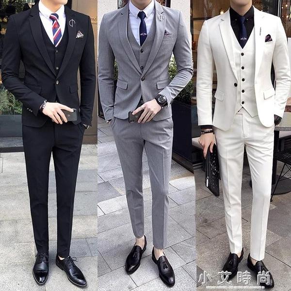 西服正裝男士套裝韓版潮流修身條紋長袖正裝大碼數小西裝兩件套 小艾時尚