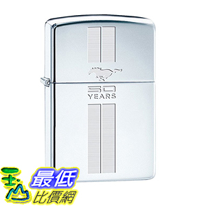 [美國直購] Zippo Lighter - Ford Mustang 50th Anniversary High Polish Chrome Chrome Stripes 打火機