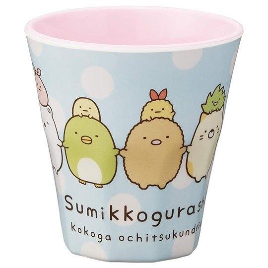 小禮堂 角落生物 無把美耐皿杯 塑膠杯 兒童水杯 270ml (藍 牽手) 4973307-48308