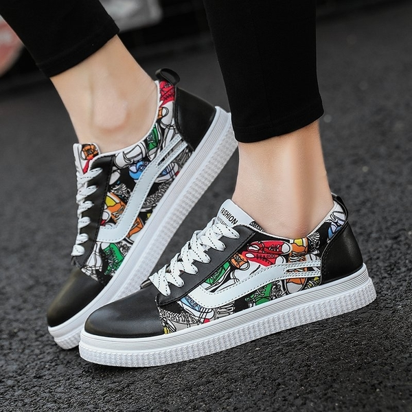 FINDSENSE品牌 秋冬款 新款 日本 情侶 帆布鞋 高品質 塗鴉 低幫 板