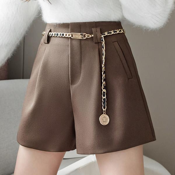 VK旗艦店 韓國風時尚靴褲休閒高腰寬鬆毛呢短褲