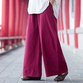 原創復古中國風水洗縐布休閒棉麻闊腿褲 女裝褲子長褲直筒褲春夏  莉卡嚴選