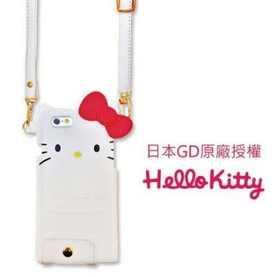 【出清】日本GD原廠授權 Apple iPhone 6 Kitty蝴蝶結皮革保護套-白色 i6 手機殼 (SAN-380WH)