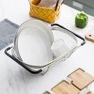 摩登主婦水槽瀝水籃不銹鋼水池瀝水架家用可伸縮濾水籃碗碟置物架 亞斯藍