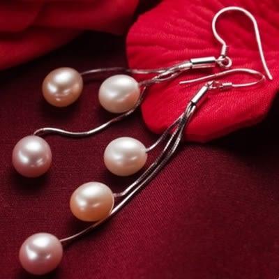 珍珠耳環 925純銀-水滴型7.5-8mm長款流蘇生日情人節禮物女飾品73lw5【時尚巴黎】