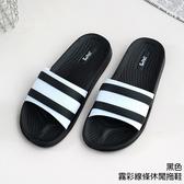 【333家居鞋館】Fun Plus+ 專利材質 霧彩線條休閒拖鞋-黑