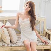 性感睡衣 典雅白色蕾絲柔緞面睡衣 情趣內睡衣 《SV8066》HappyLife