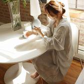 日系簡約長裙純棉麻布長款女睡裙寬鬆大碼長袖睡衣韓國家居服   居家物語