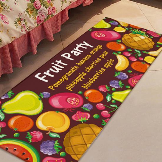 水果派對圖案地墊(長) 門墊 腳墊 地毯 玄關 浴室 廚房 臥室 客廳 防滑 時尚【V28】MY COLOR