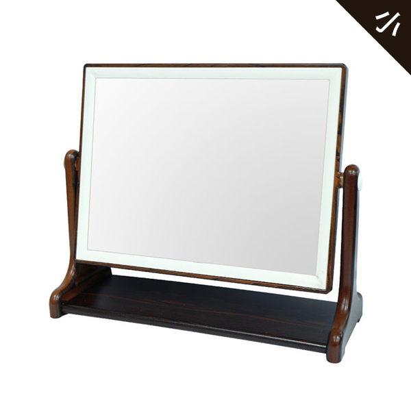 亮顏黑檀紋方型桌鏡-大