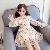 女童裝連身裙秋裝新款小女孩紗裙圓點蓬蓬裙春秋款兒童公主裙 完美計劃