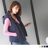 OB嚴選《EA1364-》羅文領防風舖棉連帽背心外套.4色--適 S~L