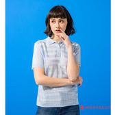 女款短袖POLO衫 夢特嬌法國製造亮絲系列 氣質方格紋-水藍