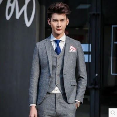 西裝套裝含西裝外套+西裝褲(三件套)-簡約素面型男造型正式場合男西服73hc86【時尚巴黎】