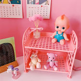 【BlueCat】DIY粉色上下層化妝品首飾摺疊收納架
