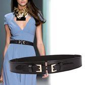 腰封 雙扣牛皮窄腰封女式腰帶時尚皮帶連身裙裝飾皮帶女士腰帶 巴黎春天