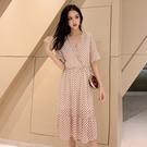 短袖洋裝 連身裙夏季法國小眾桔梗中長款V領波點雪紡連身裙NC19-D依佳衣