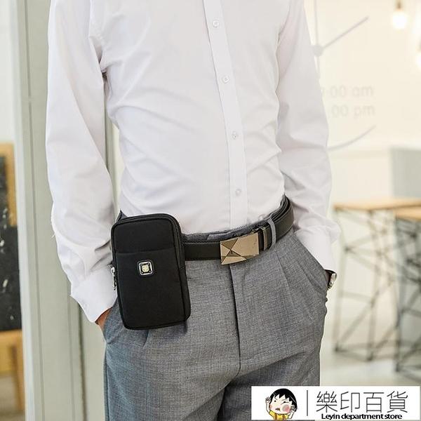 瑞士軍刀手機包帆布腰包男士6寸多功能戶外運動穿皮帶小腰包零錢 樂印百貨