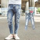 牛仔褲 渲染刷色小抓破彈性合身版九分褲【...