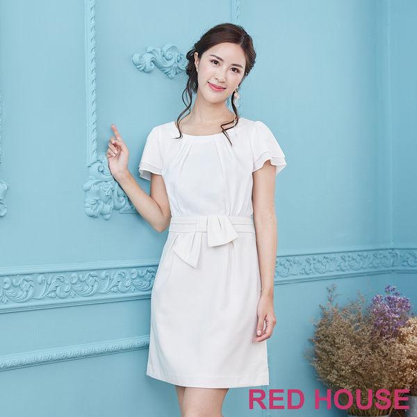 Red House 蕾赫斯-打褶波浪袖素面洋裝(白色)