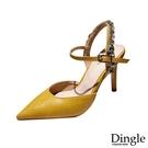 Dingle丁果ღ歐美時尚尖頭一字帶水鑽性感细跟高跟鞋(三色36-41)
