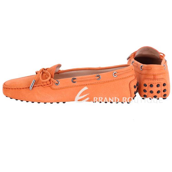 TOD'S Gommino 經典綁帶豆豆休閒鞋(女鞋/橘色) 1420147-17