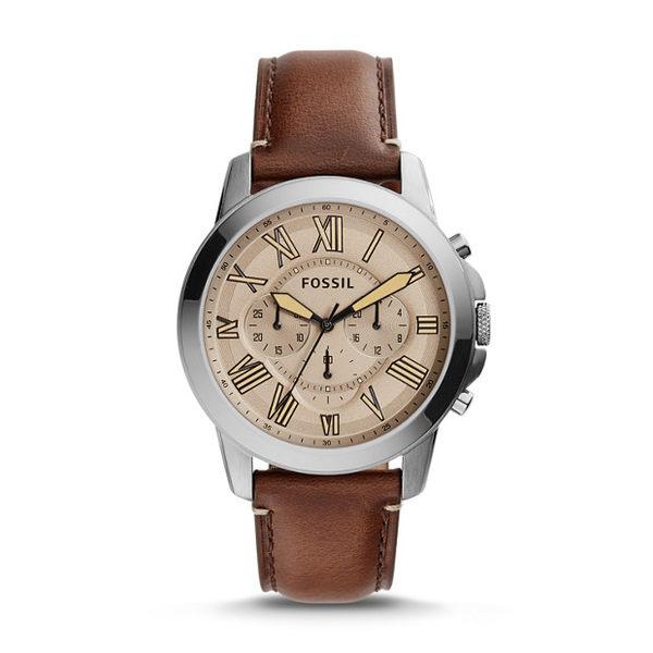 【時間道】 [FOSSIL。錶] 新時尚主義中性計時羅馬刻度腕錶/灰褐面咖啡皮(FS5214)免運費