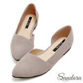 訂製鞋 優雅素面絨布側挖空尖頭鞋-艾莉莎Alisa【03A3366】灰色下單區