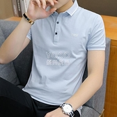 純棉短袖t恤男夏季新款襯衫領polo衫韓版潮流衣服男裝半截袖體恤 快速出貨