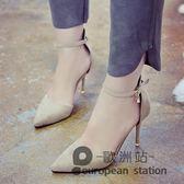 涼鞋/春季包頭一字扣女黑色細跟高跟鞋子「歐洲站」